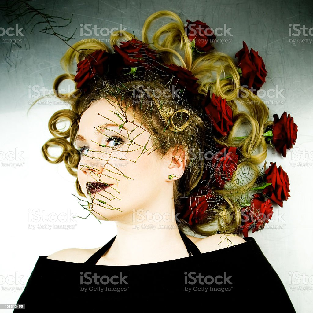 Hairstyle with roses stock photo