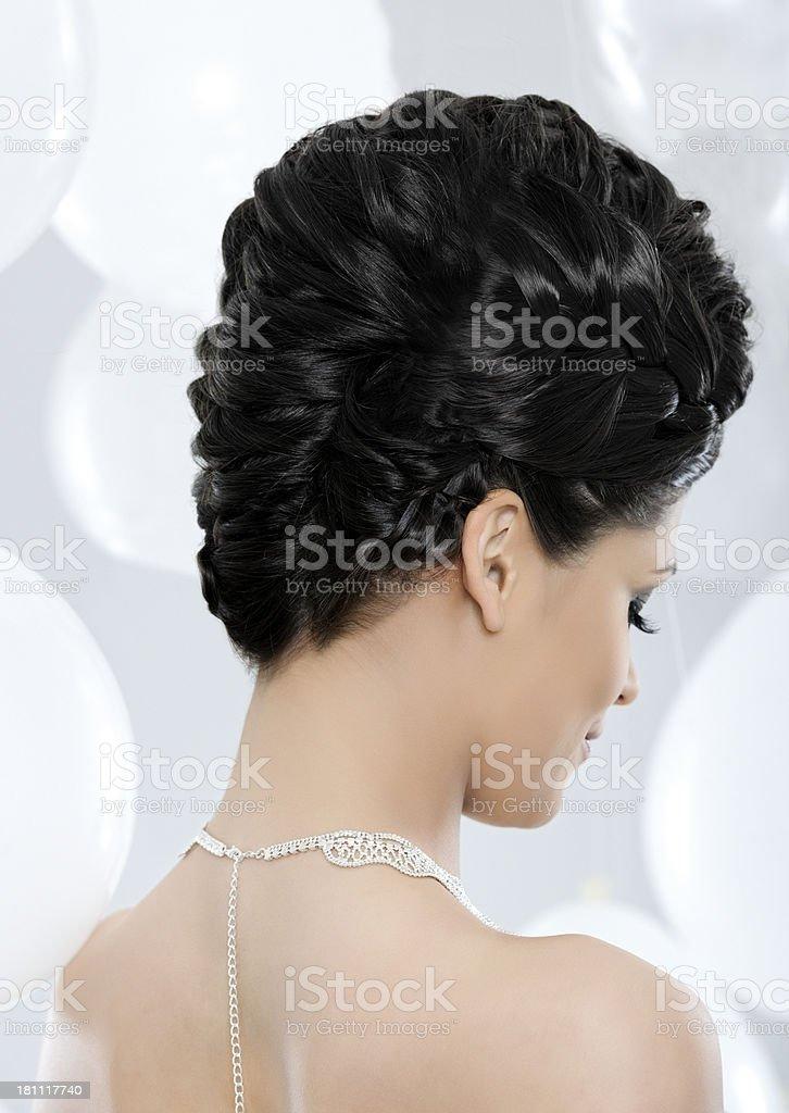 hairstyle-braided hairbun royalty-free stock photo