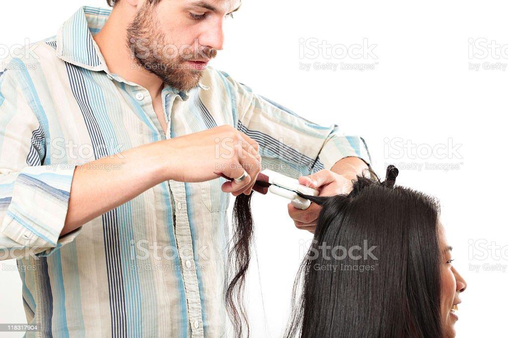 Hairstylist working stock photo