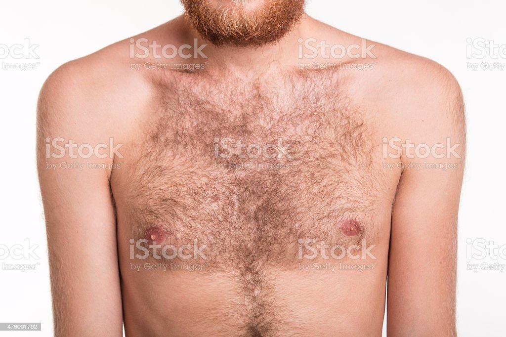 Hairy man chest stock photo