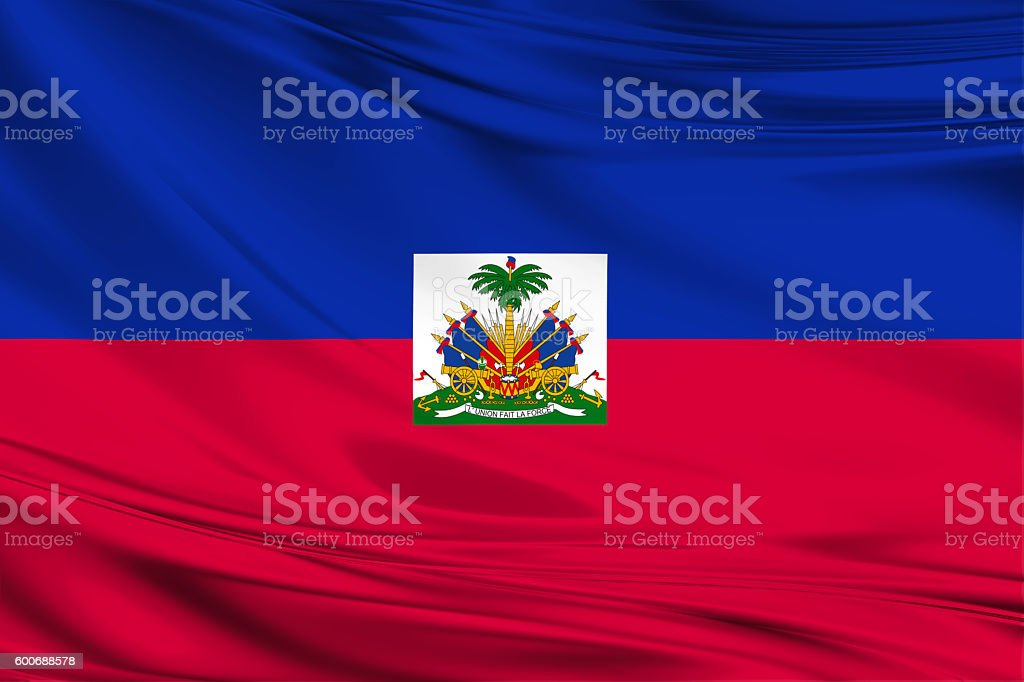 Haiti flag blowing in the wind stock photo