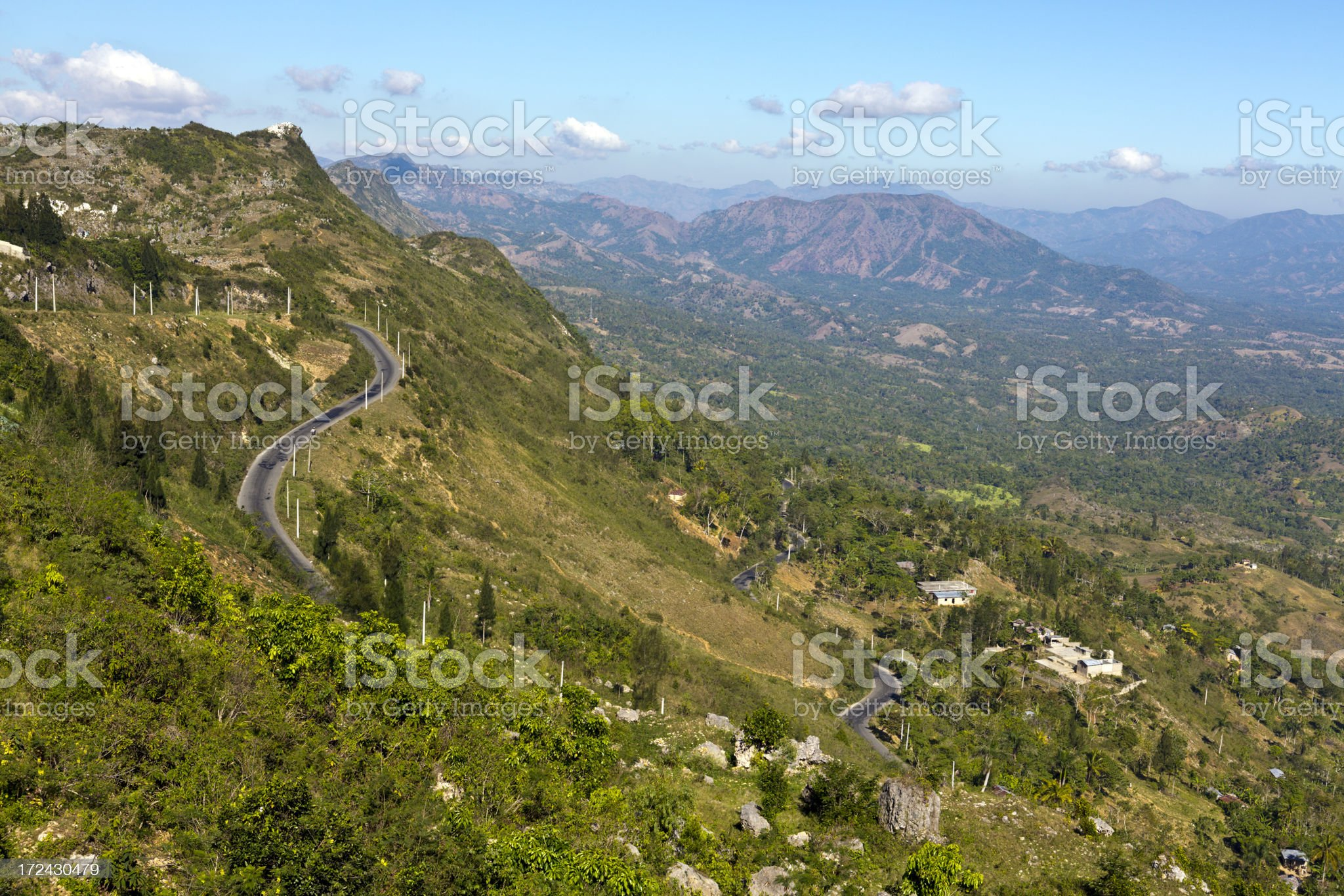 Haiti, Nord-Ouest, Massif du Nord mountains, highway and valley. royalty-free stock photo