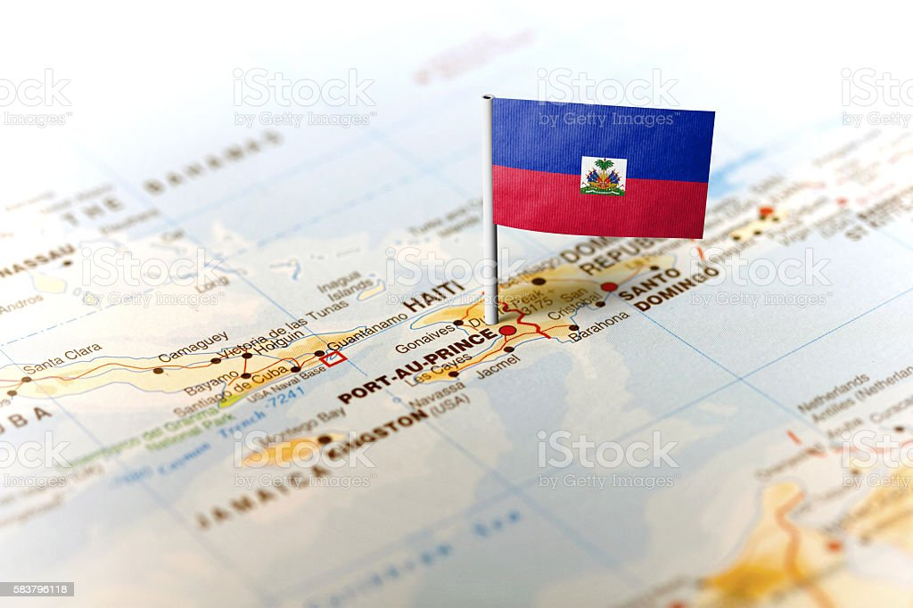 Haiti pinned on the map with flag stock photo