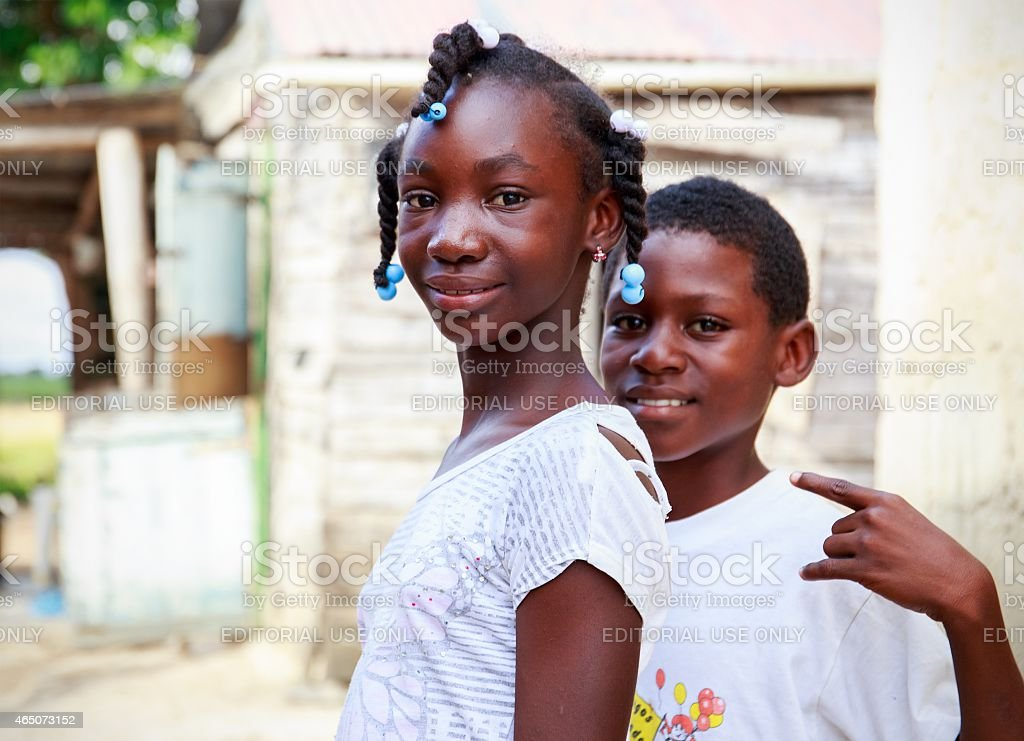 Haitian children in refugee camp stock photo
