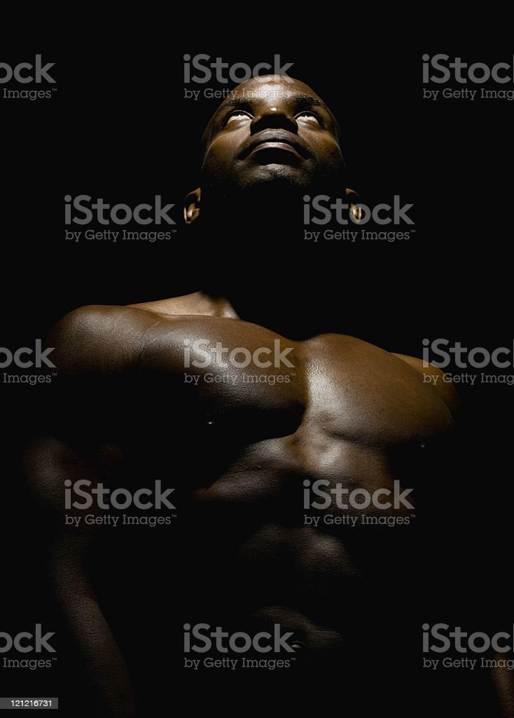 Haitian Man Looking Up , Low Key royalty-free stock photo