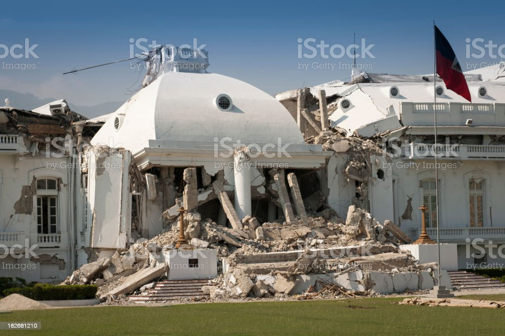 Haitian president palace after the earthquake stock photo