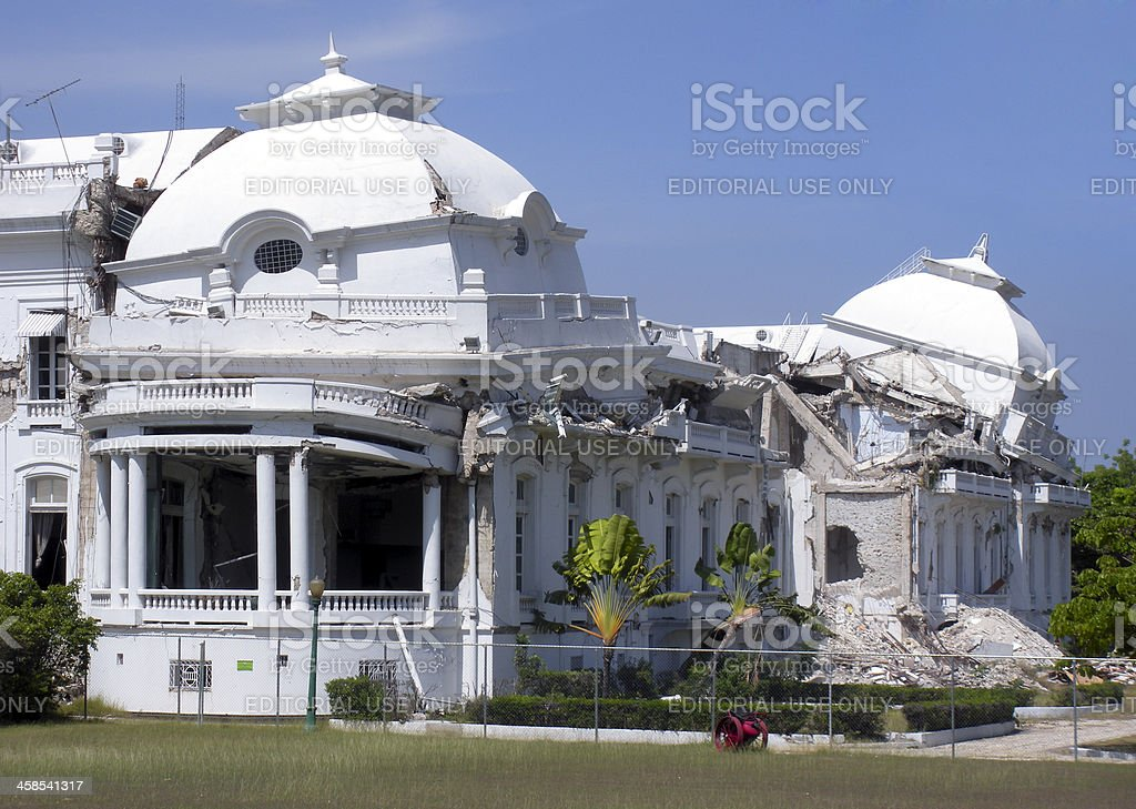 Haitian presidential palace after 2010 earthquake royalty-free stock photo