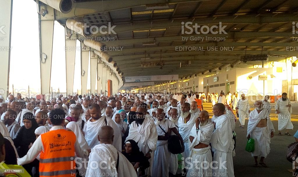 hajj - Group of pilgrims in Mina- Makkah, Saudi Arabia stock photo