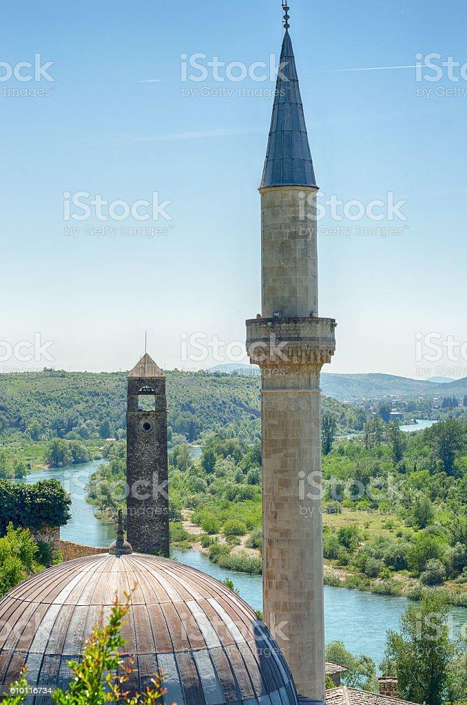 Hajji Alija Mosque at Pocitelj, Bosnia and Herzegovina stock photo