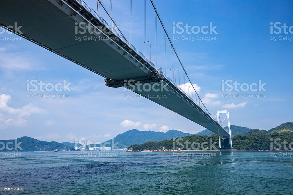 Hakata Oshima Bridges in Seto Inland Sea, Japan stock photo