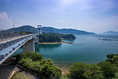 Hakata Oshima Bridges in Seto Inland Sea, Japan