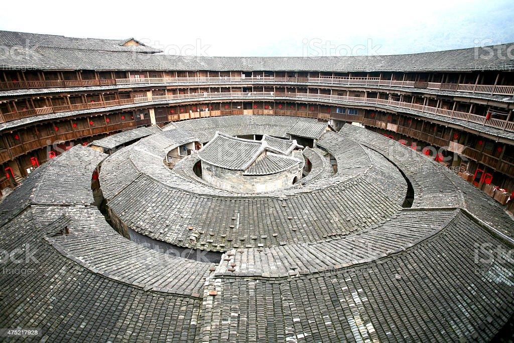 Hakka Roundhouse-Tulou Walled Village, Fujian, China stock photo