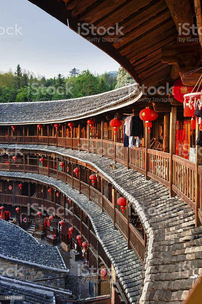 Hakka Tulou traditional Chinese housing in Fujian Province of China stock photo