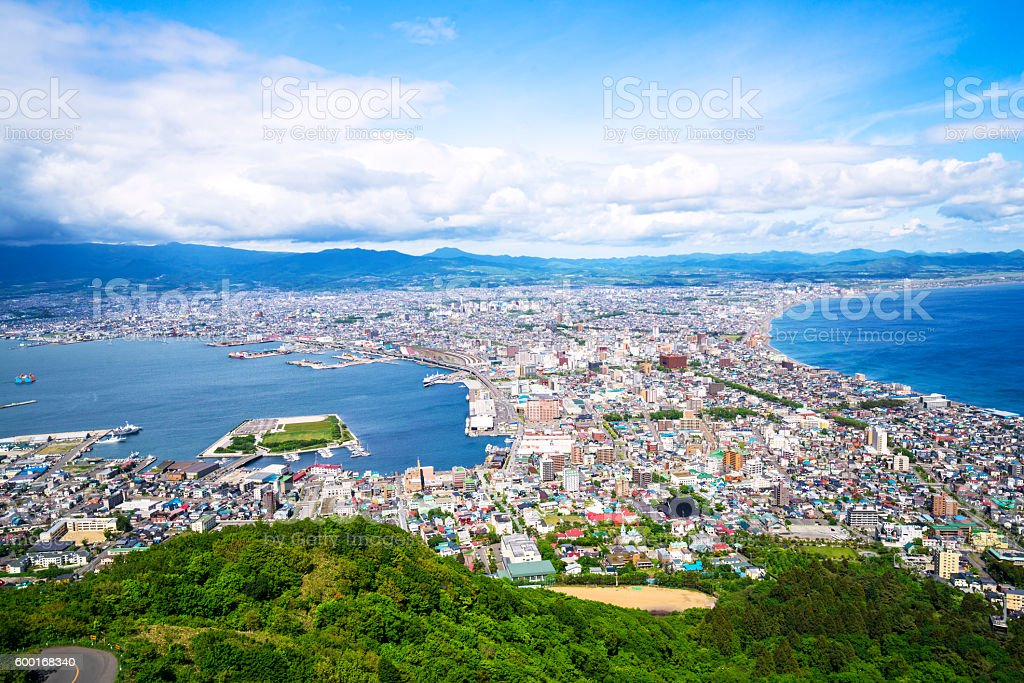 Hakodate Top view on Hokkaido, Japan stock photo
