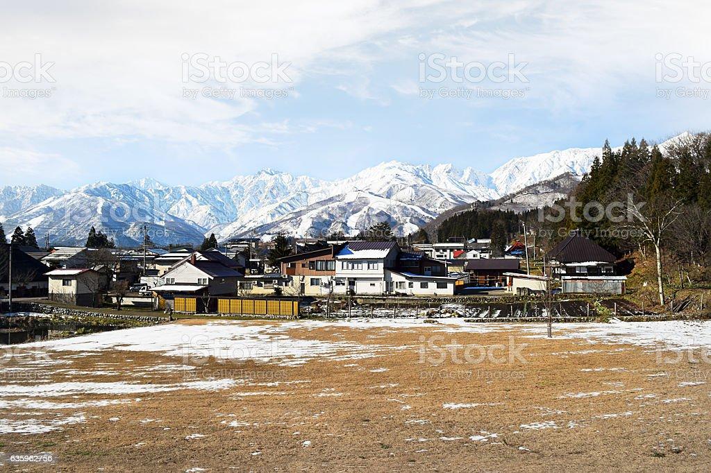 Hakuba mountain range in afternoon early winter stock photo