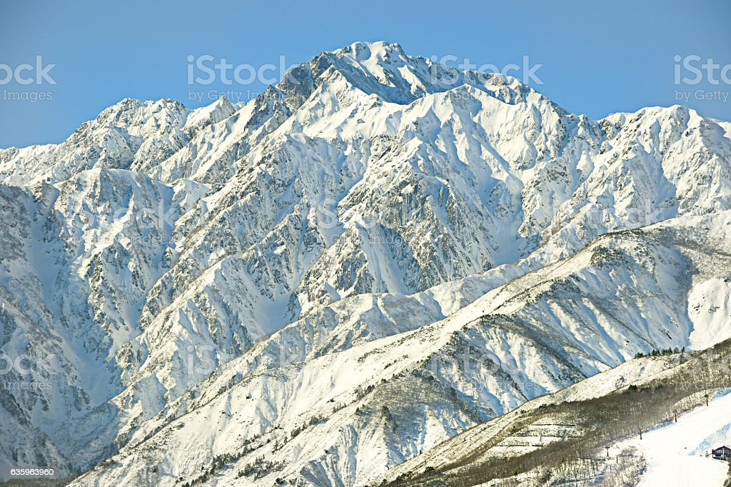 Hakuba mountain range in afternoon early winter stock photo