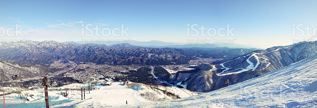 Hakuba town nestled between the mountain ranges stock photo