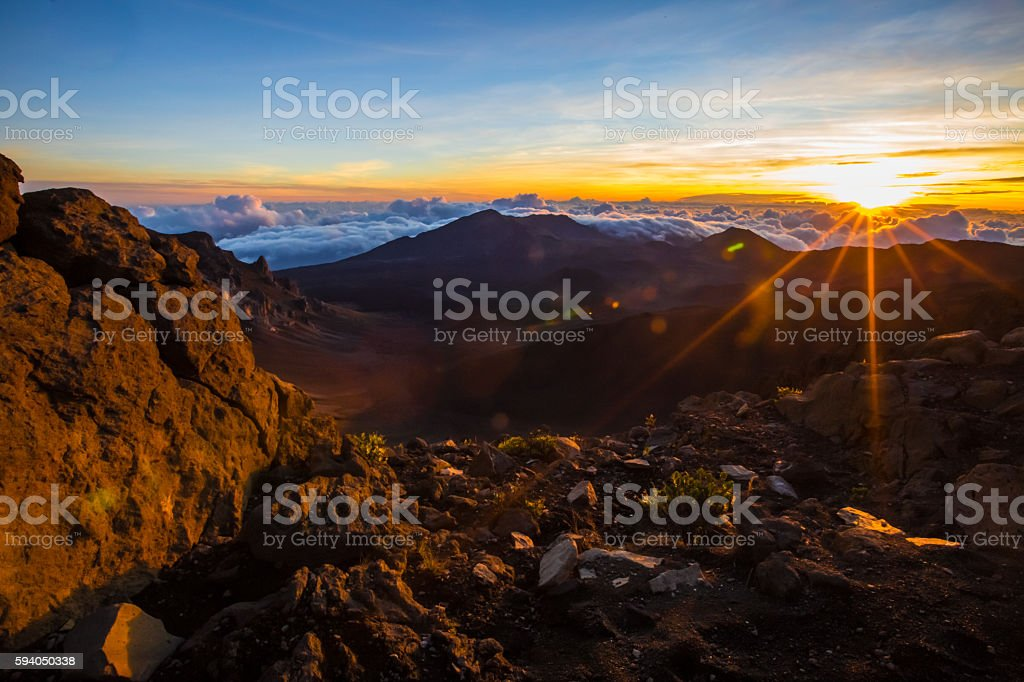 Haleakalā national park sunrise Hawaii stock photo