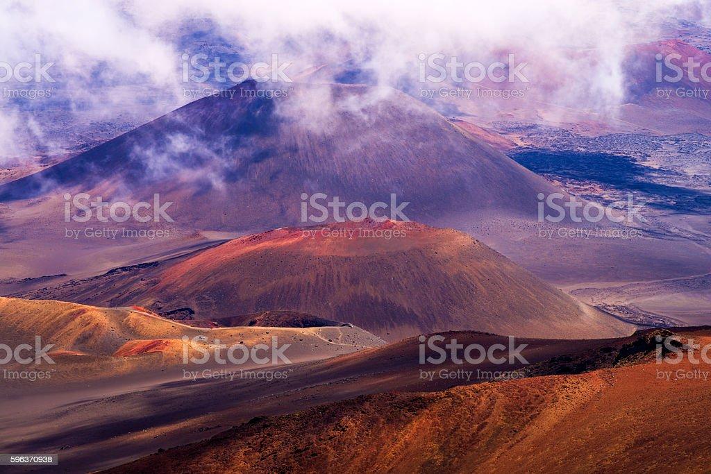 haleakala crater, clouds, maui stock photo