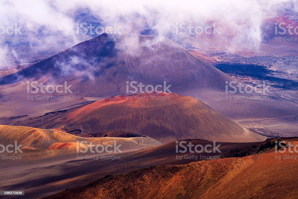 haleakala crater, clouds, maui stock photo