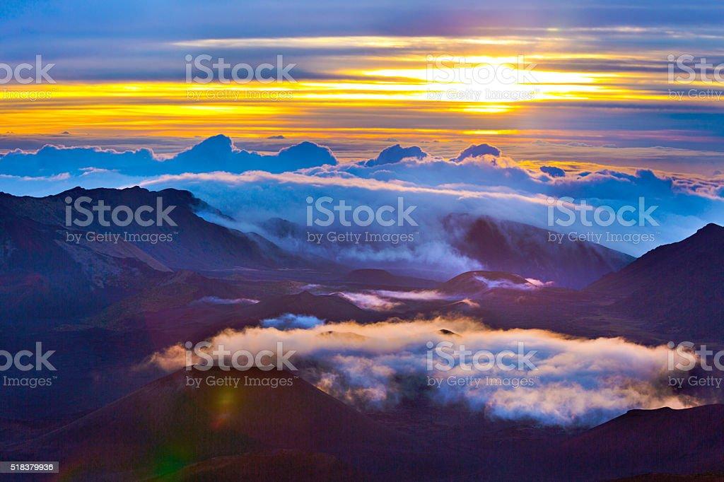 Haleakala Crater Sunrise in Maui Hawaii stock photo