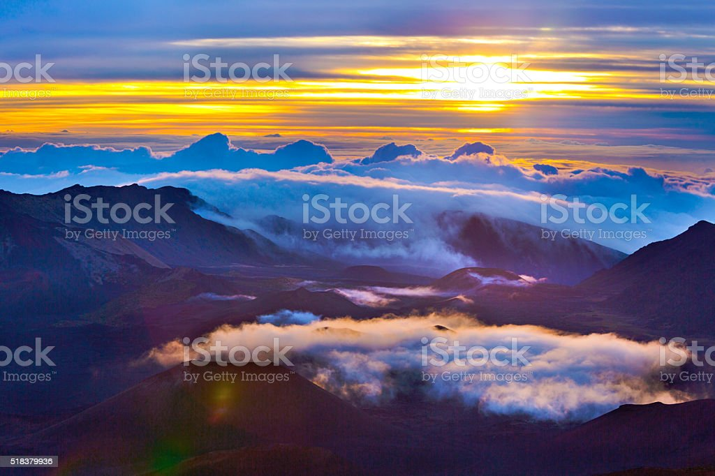 Haleakala Crater Sunrise in Maui Hawaii stock photo