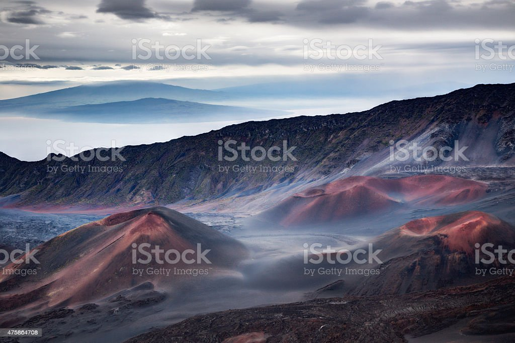 Haleakala crator at sunrise stock photo