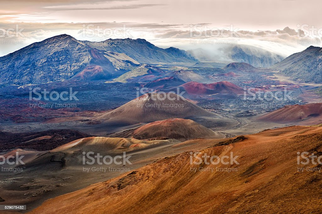 Haleakala National Park Crater in Maui Hawaii stock photo