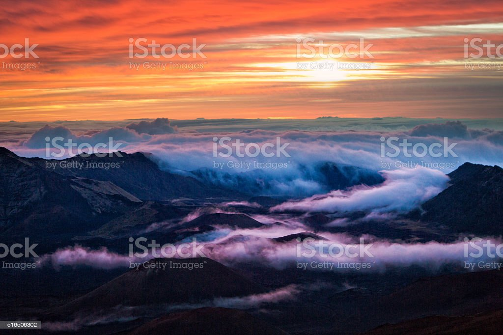 Haleakala National Park Crater Sunrise in Maui Hawaii stock photo