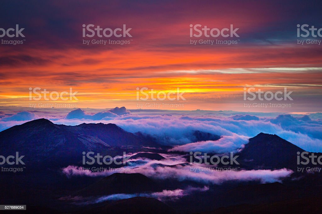 Haleakala National Park Crater Sunrise in Maui Hawaii stock photo
