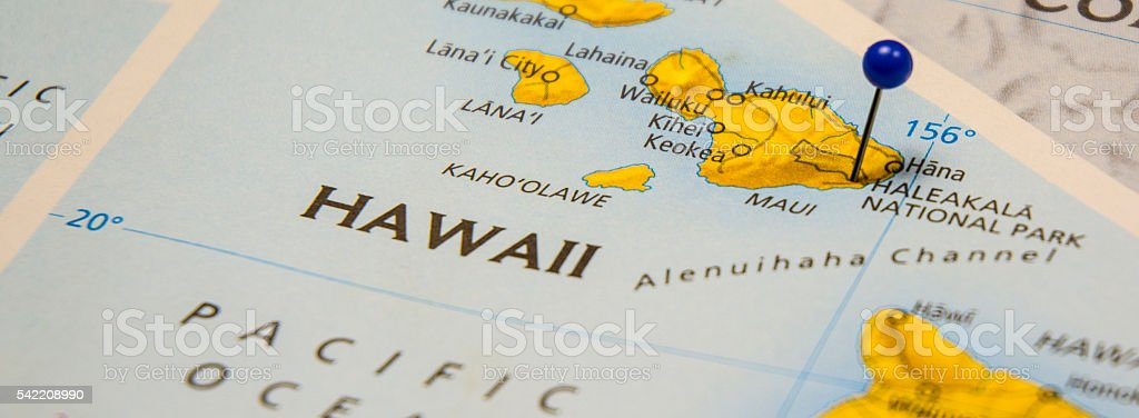 Haleakala National Park Hawaii Travel Map stock photo