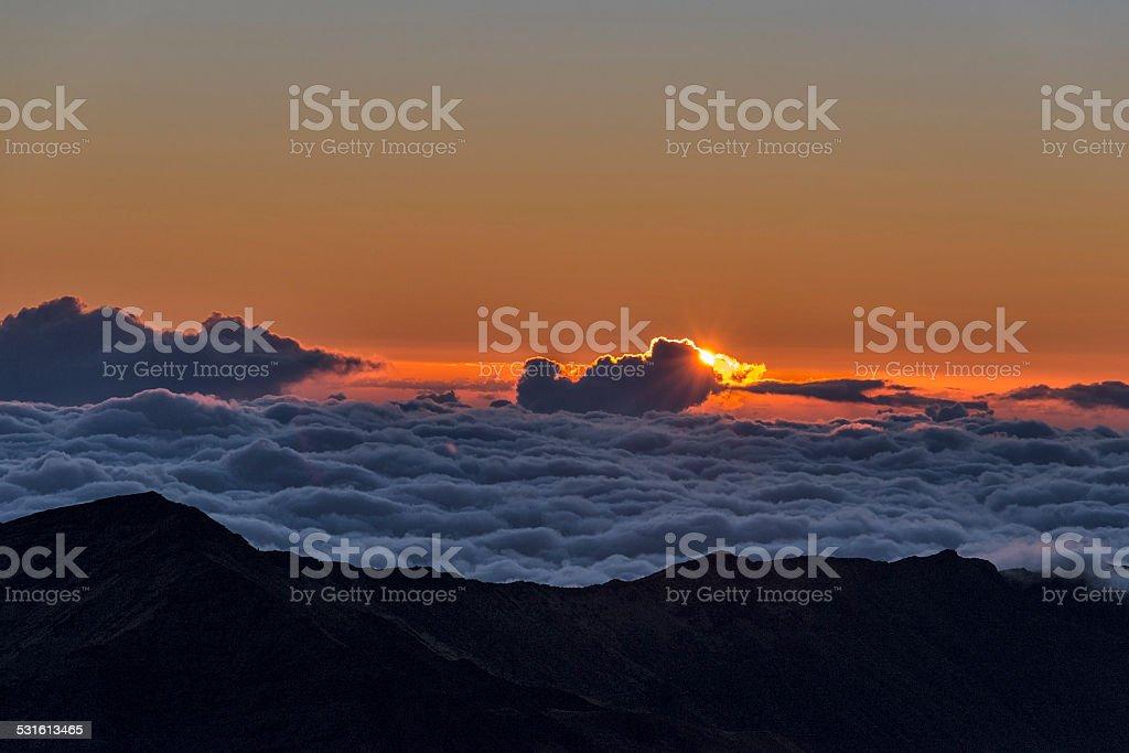 Haleakala National Park on Maui at sunrise stock photo