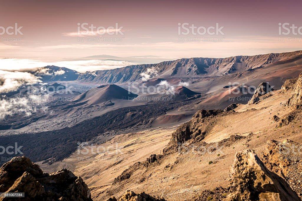 Haleakala Volcano and Crater stock photo