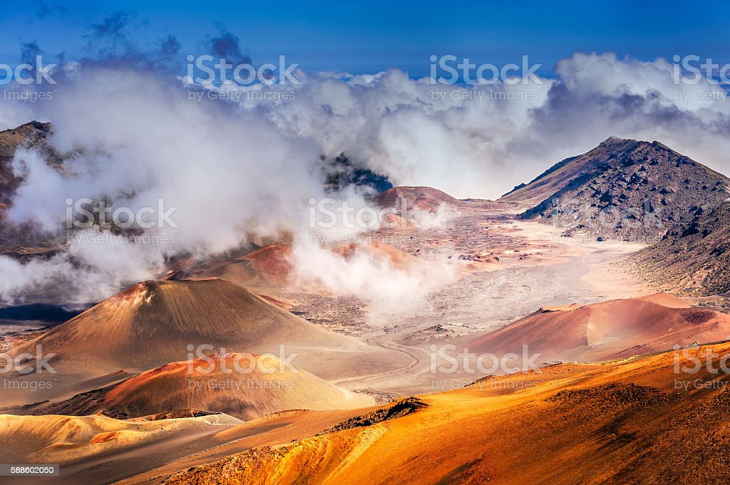 Haleakala Volcano on  Maui island in Hawaii stock photo