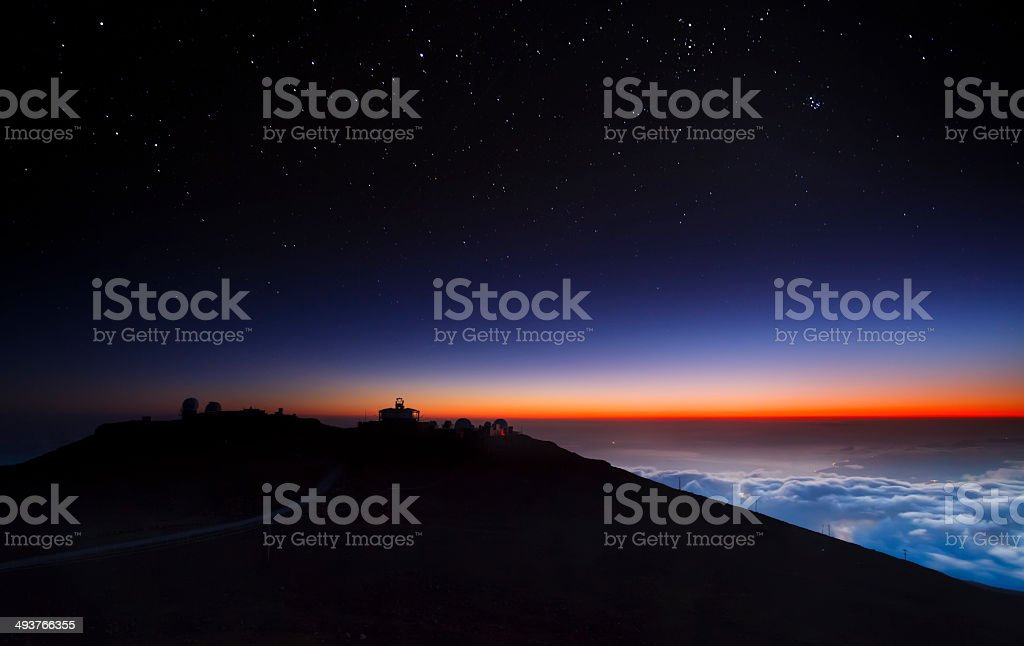 Haleakala's Starry NIght Sky stock photo