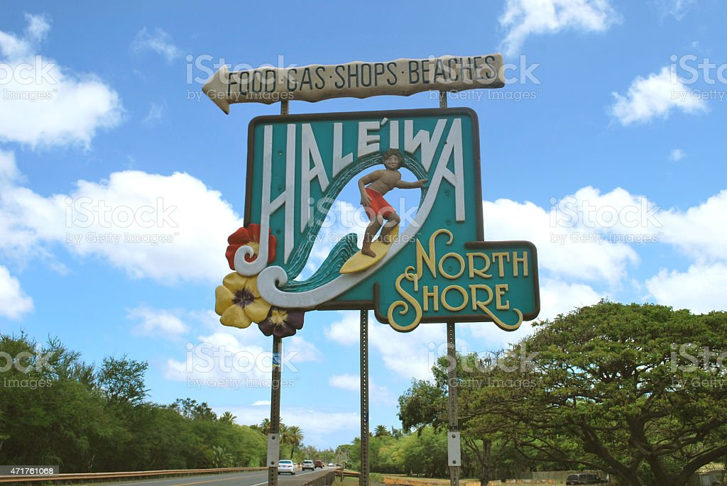 Haleiwa Road Sign on the North Shore of Oahu stock photo