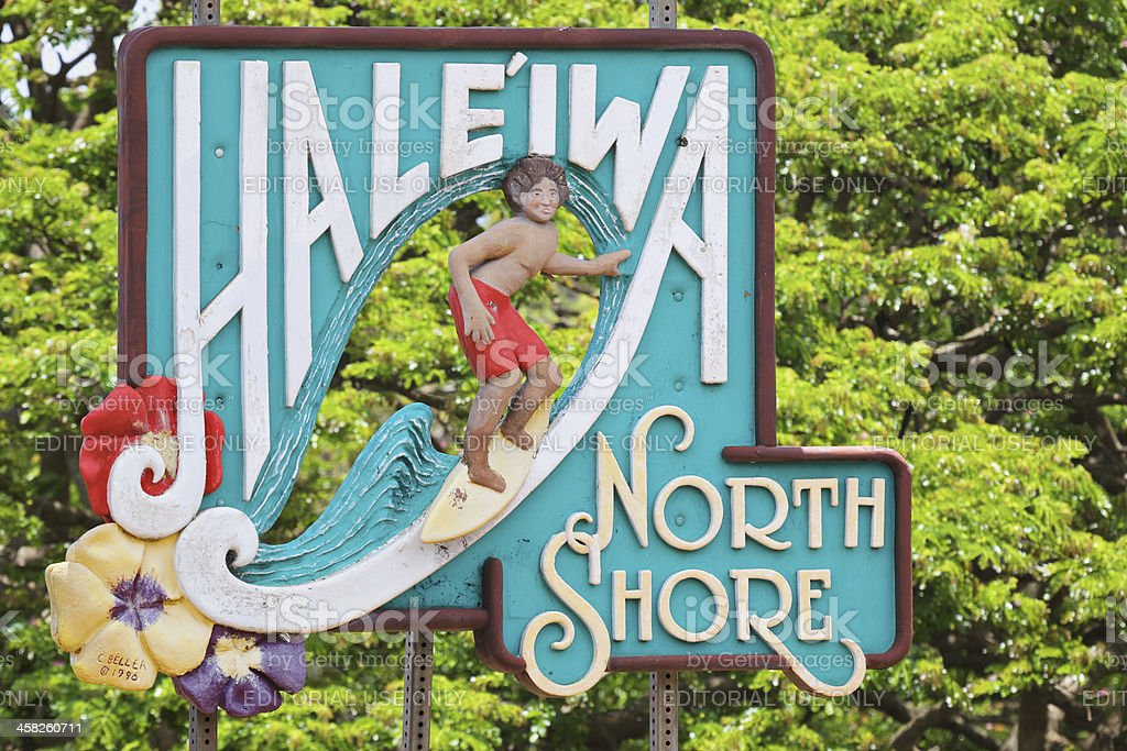 Haleiwa Sign stock photo