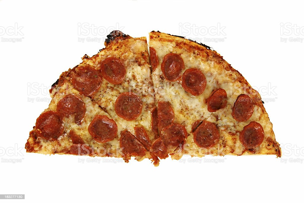 half a hole pepperoni pizza royalty-free stock photo