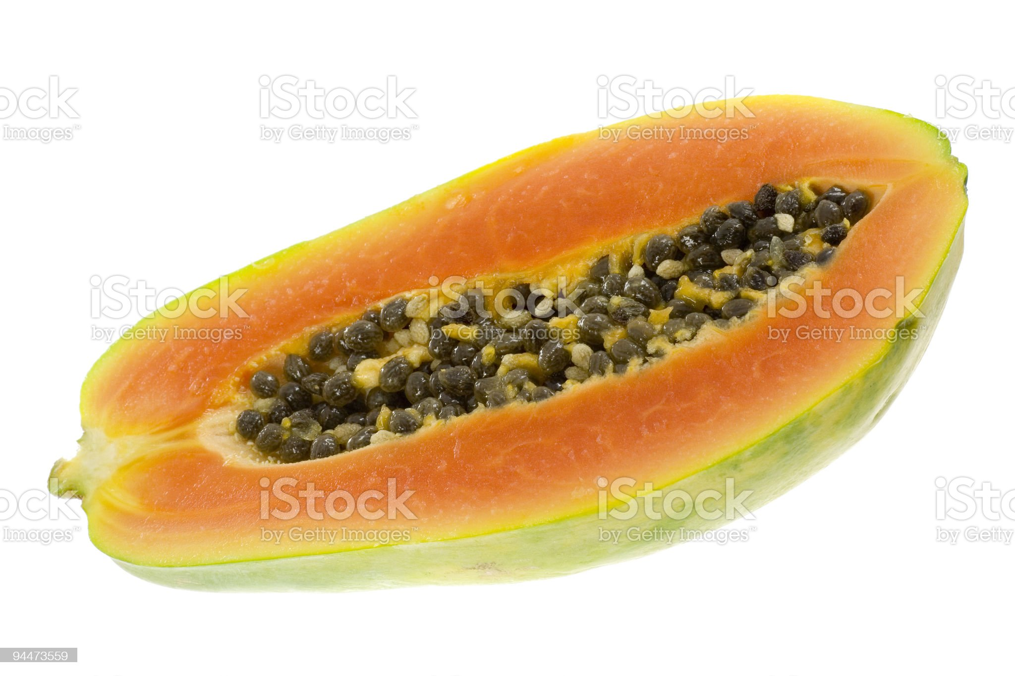 Half a papaya royalty-free stock photo