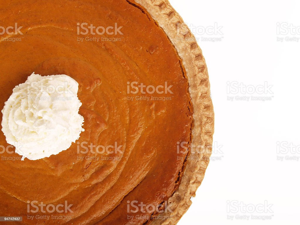 Half a Pumpkin Pie with Whipped Cream royalty-free stock photo