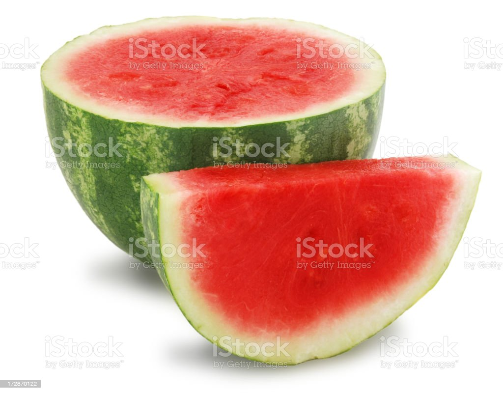 Half a watermelon with a slice of watermelon royalty-free stock photo