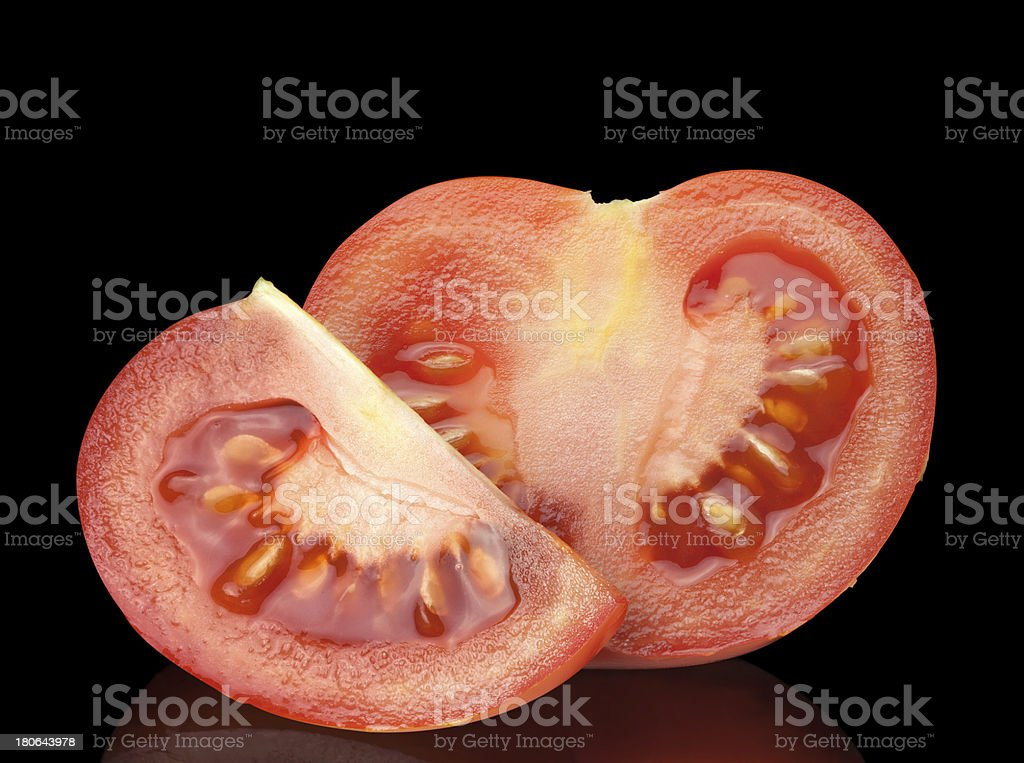 half and quarter of tomato royalty-free stock photo