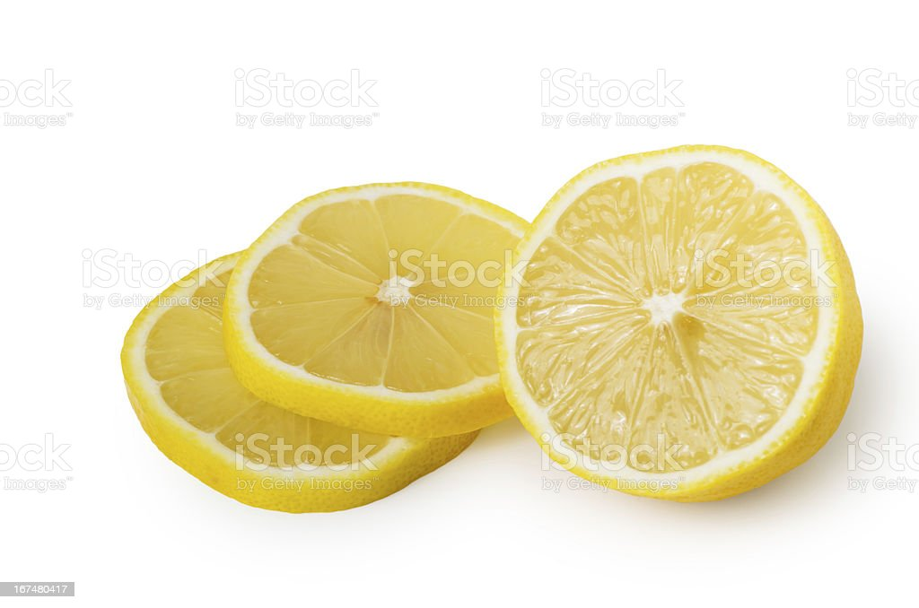 Half and two slices of lemon royalty-free stock photo