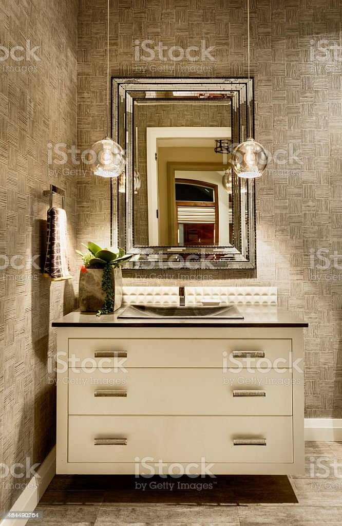 Half Bath in Luxury Home with Sink and Faucet stock photo