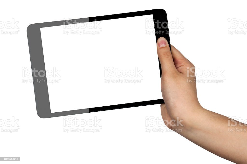 Half black and half gray tablet being held by a hand royalty-free stock photo