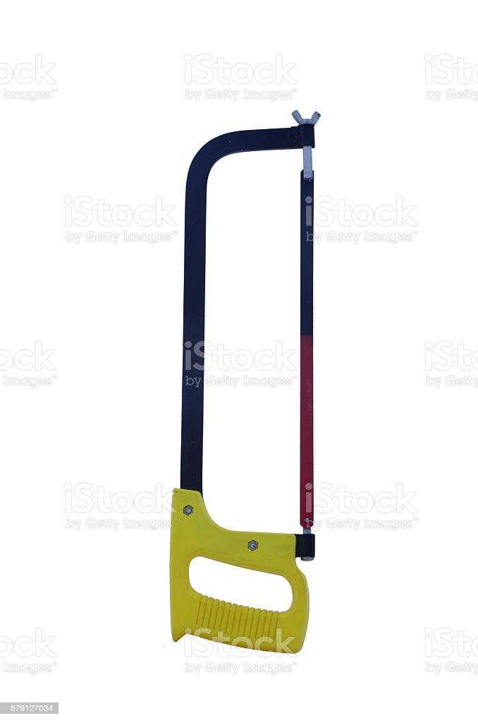 Half black and red hacksaw with yellow handle. Isolated zbiór zdjęć royalty-free