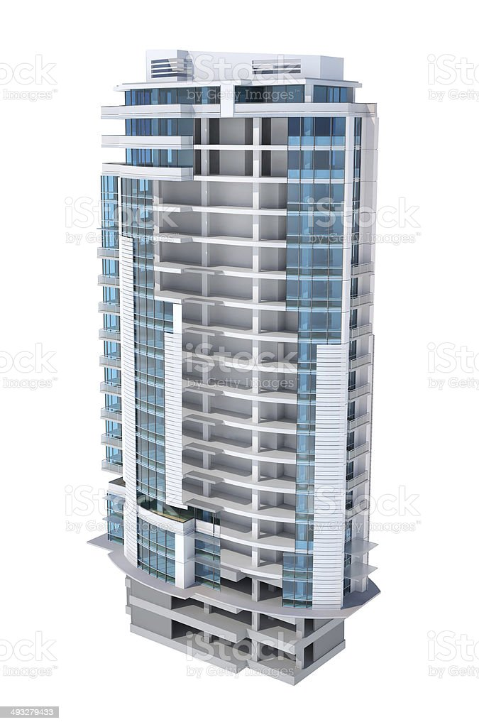 Half built building, cutout cross section, structure cut-away, construction frame stock photo