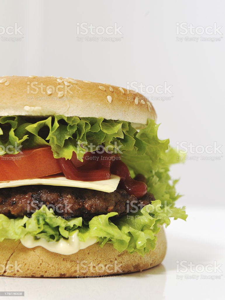 Half burger with copy space for your text or message royalty-free stock photo