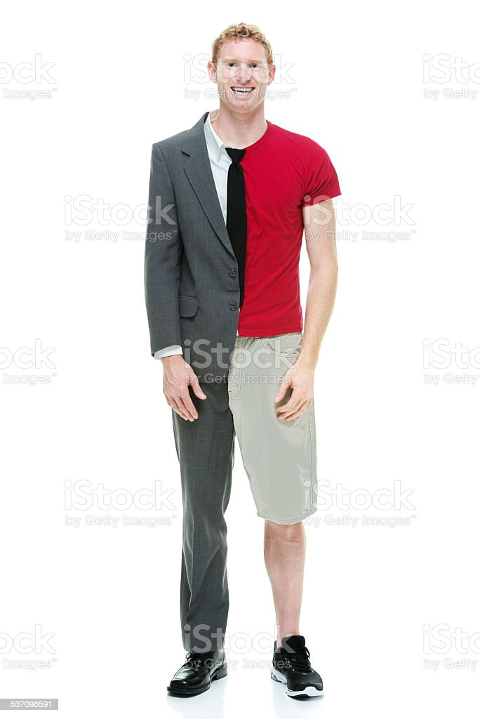 Half business / casual man standing stock photo