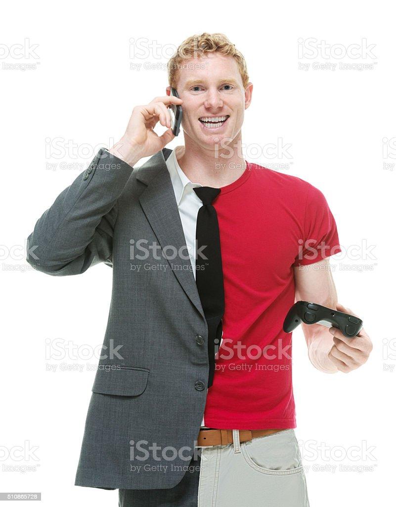 Half businessman / casual man on phone stock photo